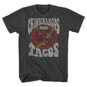 Marvel Deadpool Chimichangas & Tacos T-Shirt Gray